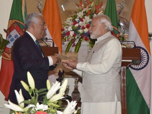 The Prime Minister, Shri Narendra Modi gifts to the Prime Minister of Portuguese Republic, Mr. Antonio Costa, his father's novel, translated to English, through the Embassy of India in Portugal, at Hyderabad House, in New Delhi on January 07, 2017.