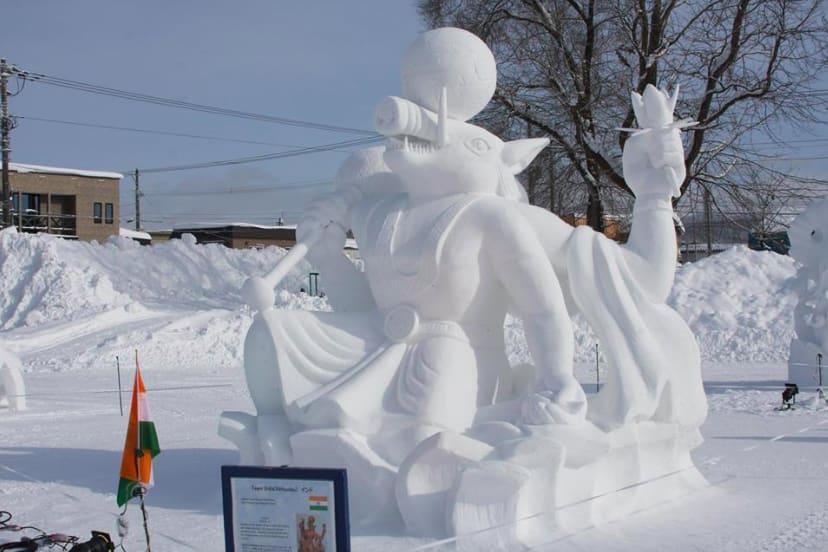 Snow sculpture of Lord Vishnu's Varaha avatar won Team India the first prize