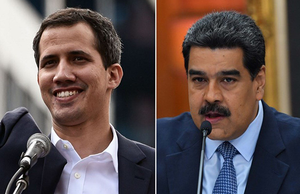 The two men locked in Venezuela power struggle.  Opposition leader and self-declared interim president Juan Guaido in left; Current Venezuela President Nicolas Maduro in Right.