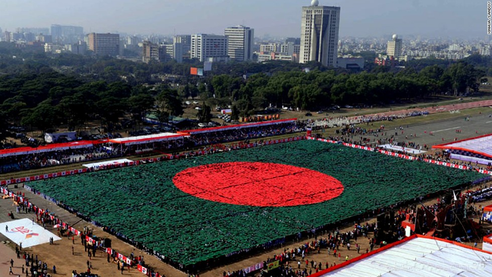 Human Flag made by the citizens of Bangladesh