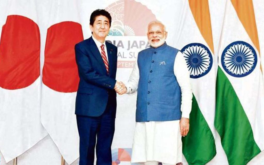 PM Narendra Modi was welcomed by Japanese PM Shinzo Abe