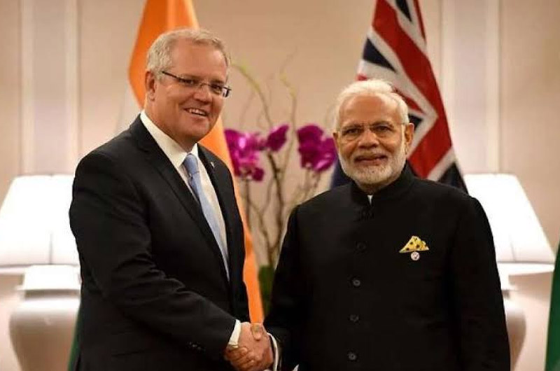 Australian Prime Minister Scott Morrison with the Indian Prime Minister Narendra Modi