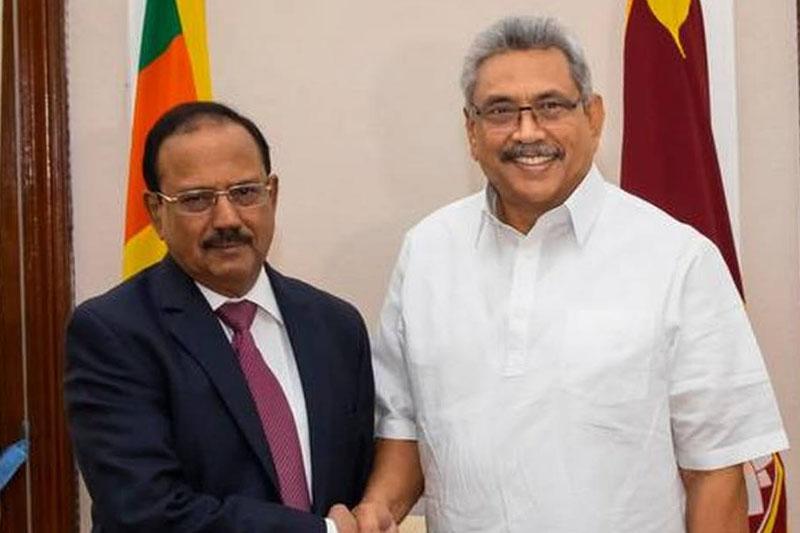India's National Security Advisor Ajit Doval with Sri Lankan President Gotabaya Rajapaksa.